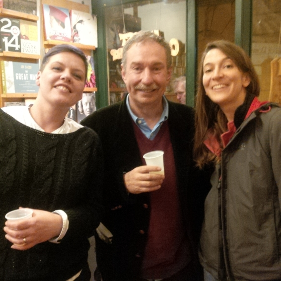 Charles Lambert with Anita Ross (Almost Corner Bookshop) and Valentina Parlato (Voland Edizioni)